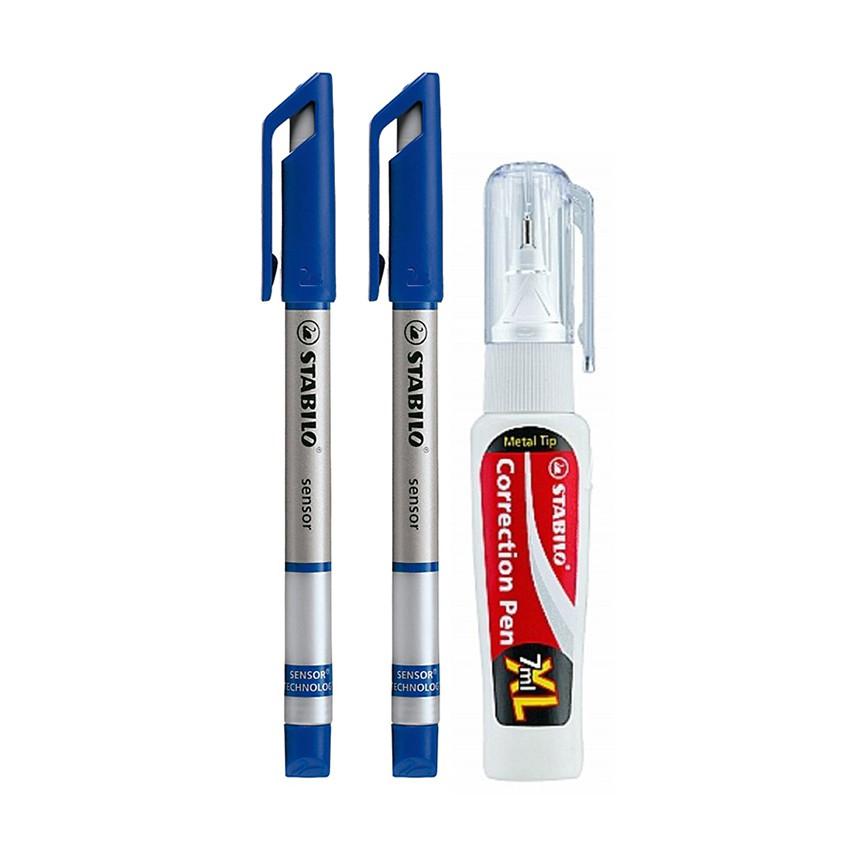 Bộ 2 cây bút kỹ thuật STABILO SENSOR Fine 0.3mm (xanh) + bút xoá Correction Pen CPS88