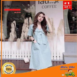 [ Mã FADIRECT20 giảm 20K đơn 150K] Váy bầu thời trang thiết kế M161 chất đũi xước freesize từ 45 đến 70kg