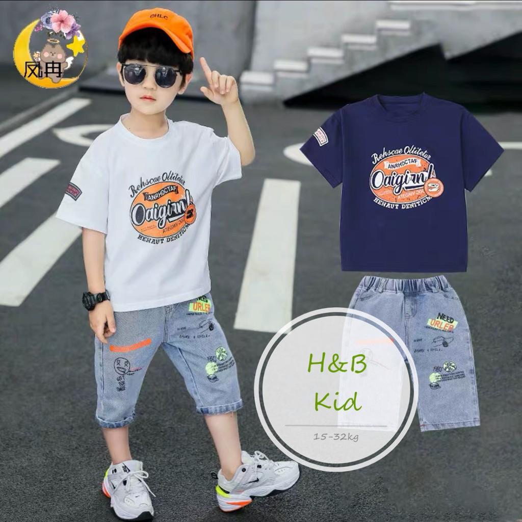 Set bộ đồ bé trai: áo cotton mịn+ quần bò lửng phong cách Hàn Quốc cho bé  trai V21, quần áo cho bé Namkidshop giảm chỉ còn 77,000 đ
