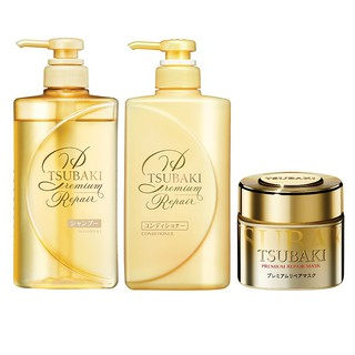Combo gội xả Phục hồi ngăn rụng tóc Premium Repair (490ml chai) và Mặt nạ tóc phục hồi hư tổn Tsubaki (180g)