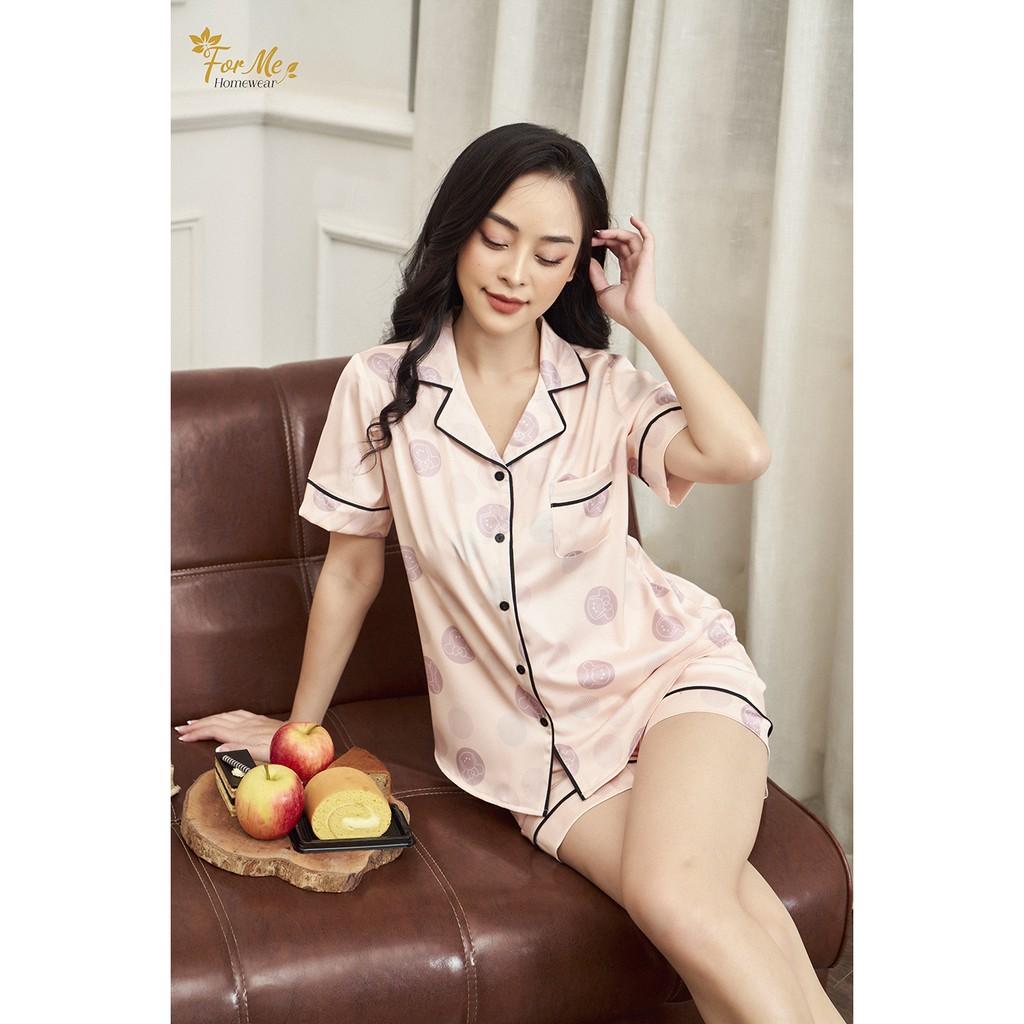Mặc gì đẹp: Ngủ ngon với Bộ đồ ngủ, mặc nhà chất Lụa Giấy Luxury quần Đùi CHẤM BI TRÒN ,forme pijama
