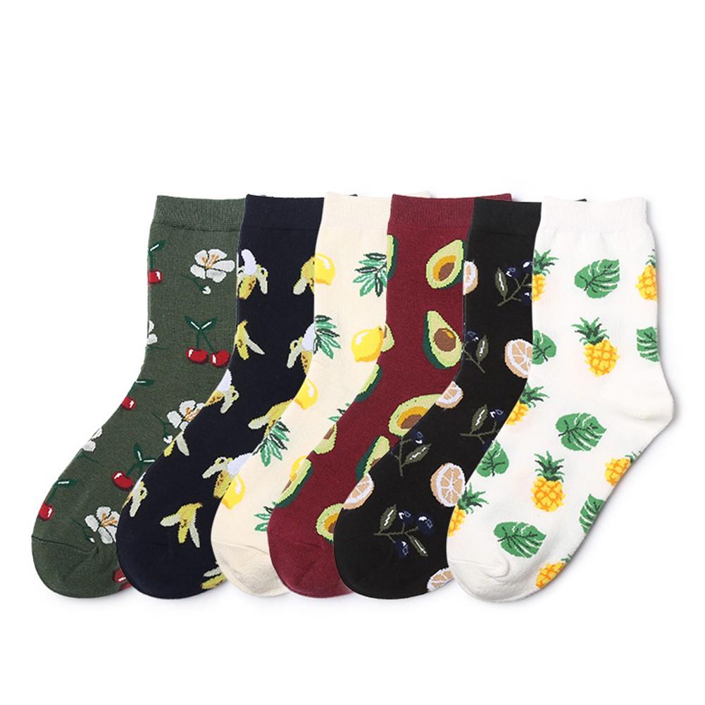 luoyangmudan Fashion Unisex Cotton  Avocado Pineapple Banana  Leaf Socks