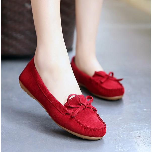 Giày mọi da lộn êm chân nữ tính form nhỏ (màu đỏ)