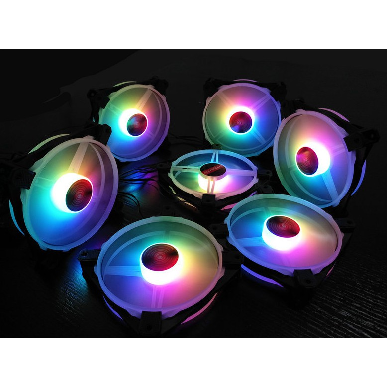 Bộ 5 Quạt Tản Nhiệt, Fan Case Coolmoon V5 - Kèm Bộ Hub Sync Main, Đổi Màu Theo Nhạc