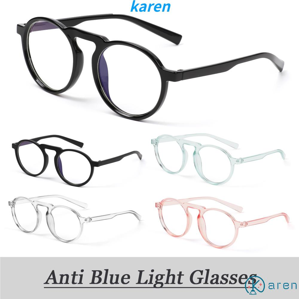 👗KAREN💍 Improve Comfort Radiation Protection Ultralight PC Frame Round Frame Transparent Anti Blue Ray Glasses