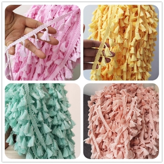Polyester cotton Fringe 5/10yards 4.0cm Lace Tassel Trimming colorful Ribbon Garment Sewing Accessory Curtain Decorat