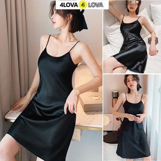 Hình ảnh Váy ngủ 2 dây lụa satin cao cấp 4Lova mềm mịn, quyến rũ-4