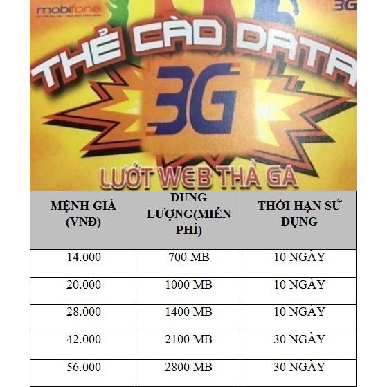 ko thời hạn - 10 thẻ nạp data 2.8gb 2.1gb 1.4gb 1gb thẻ 3G 4G thẻ cào mobi mobifone 2800mb 2100mb 14