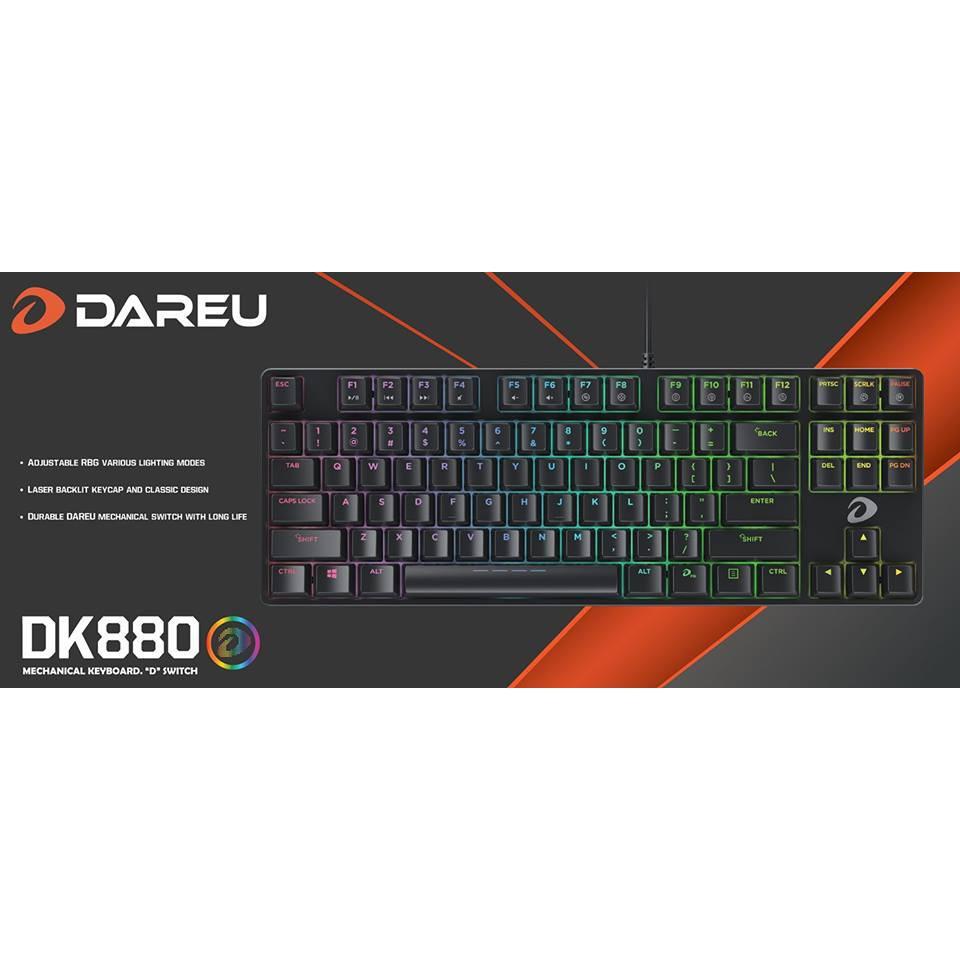 [ Shoppe Sales ] Phím cơ DareU DK880 Blue/Brown/Red Switch BH 2 năm chính hãng Giá chỉ 729.000₫
