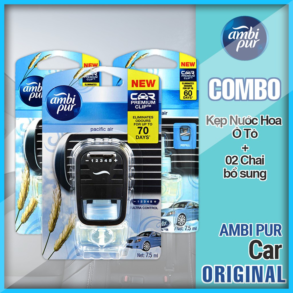Combo Ambipur JL-RL2: 1 Kẹp nước hoa Ô tô loại lớn (7.5ml) + 2 chai bổ sung loại lớn (7.5ml) Hương B
