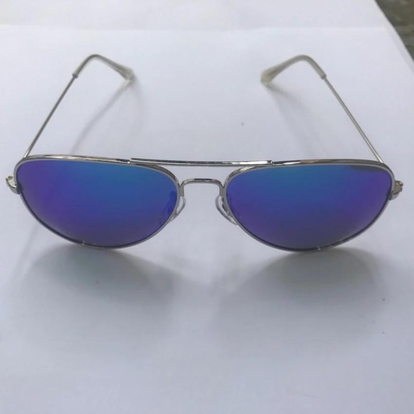 Kính mát thời trang kiểu phi công mắt xanh gọng kim loại bạc Sammy W3026 (Bạc)