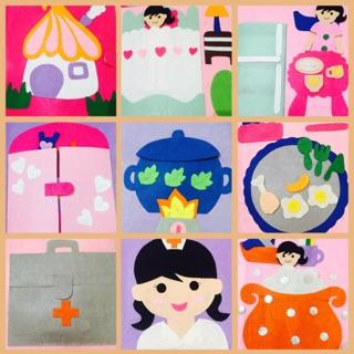 Sách vải handmade chủ đề cuộc sống hàng ngày bé gái ( hình thật)