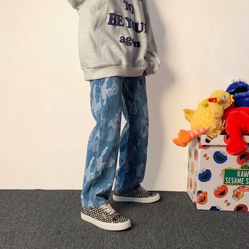 Jeans Men's Hip-hop Camouflage Trend Ins Loose Straight-leg Pants