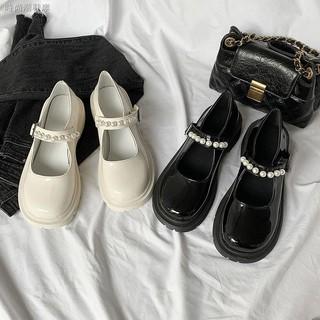 Giày da đính ngọc trai phong cách retro 2021 cho nữ