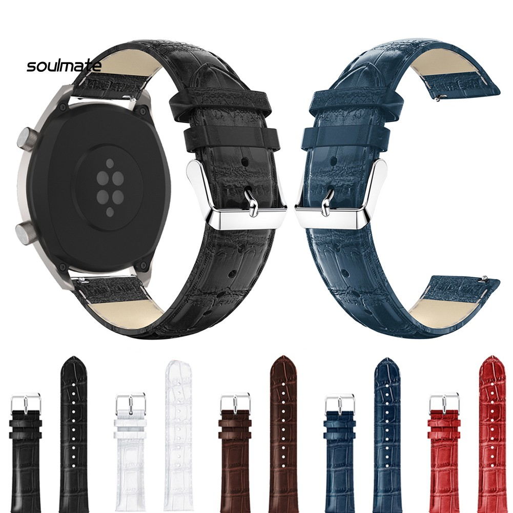 J_22mm Soft Faux Leather Smart Watch Band Wrist Strap Replacement for Huawei GT