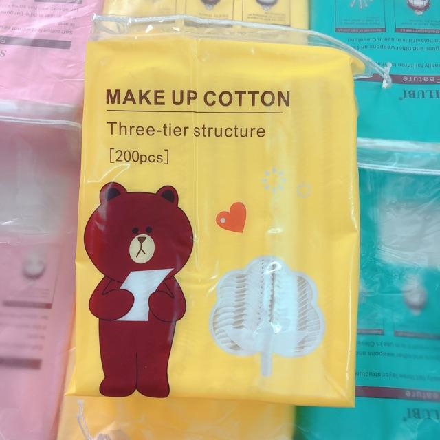 Bông tẩy trang giá rẻ /  Freeship Từ 50K/  Bông Tẩy trang gấu vịt thỏ Line Friends 100% Cotton