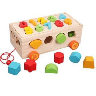 Yêu Thích+[Mã TOYJAN hoàn 20K xu đơn 50K] Đồ chơi giáo dục xe kéo thả hình khối và chở số cho bé
