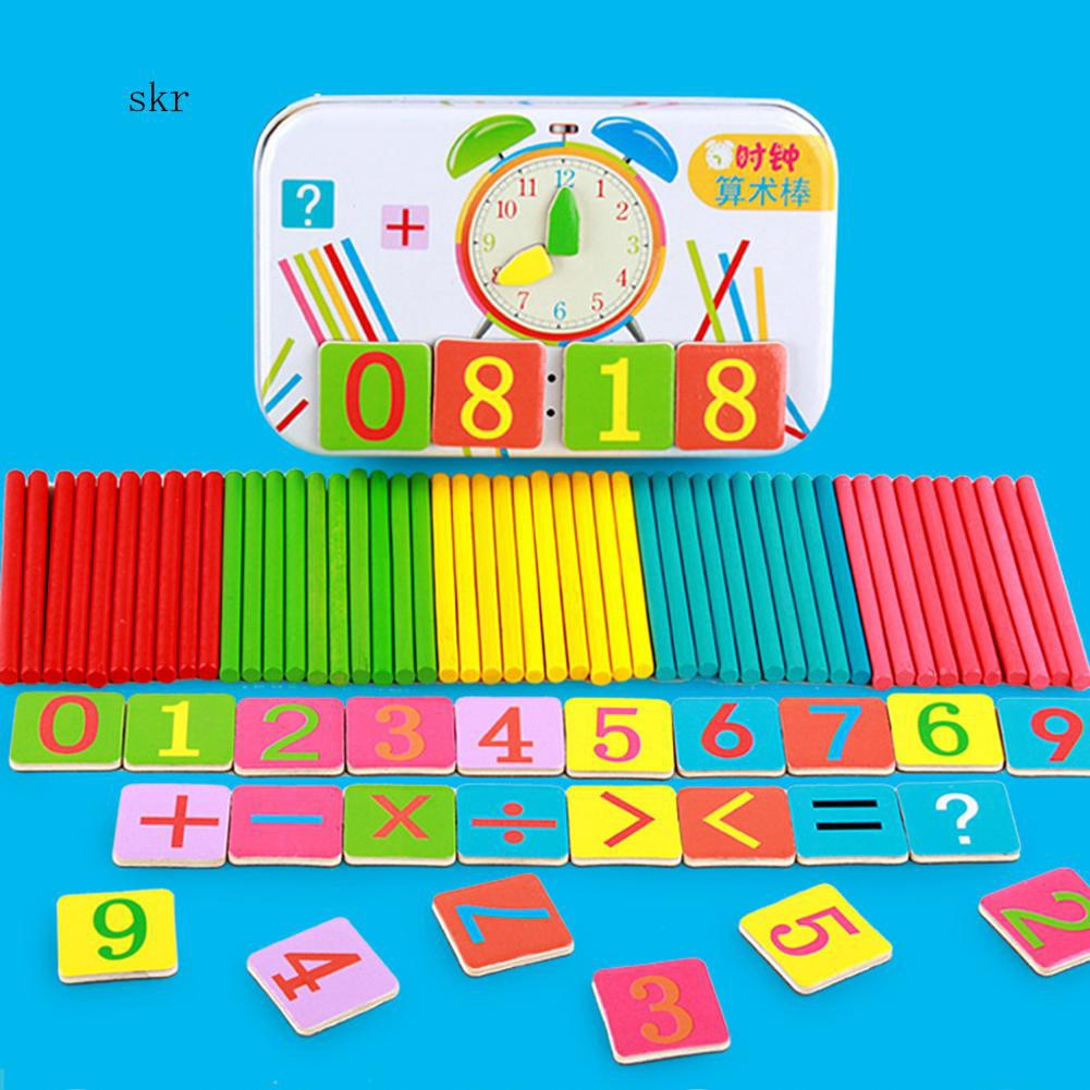 SKR♛Wooden Stick Magnetic Card Math Learning Counting Game Puzzle Education Kids Toy