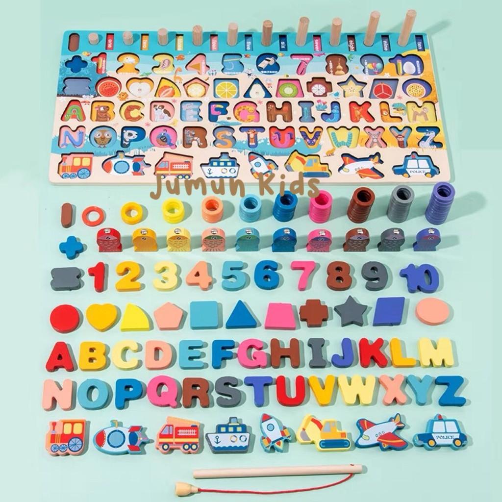 Bảng gỗ 6 in 1 – Bảng câu cá đa năng, số đếm, chữ cái, hình học, phương tiện giao thông ….