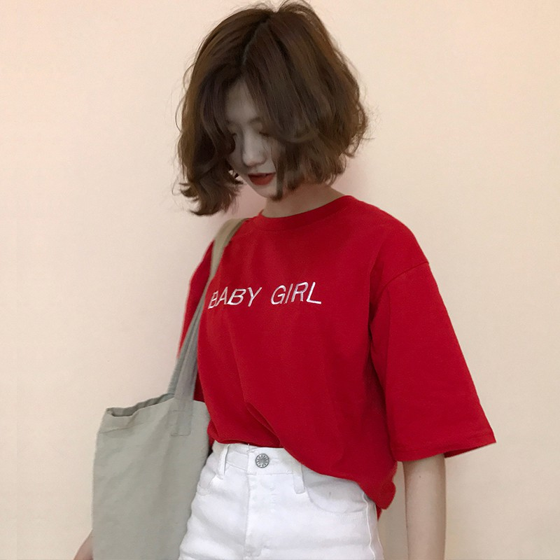 Short-sleeved t-shirt embroidered with Korean style