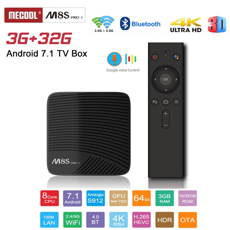 MECOOL M8S PRO L ATV Android 7.1 TV BOX 3GB 32GB Amlogic S912 HD2.0 Hỗ trợ Wifi 2.4 / 5G Voice Control
