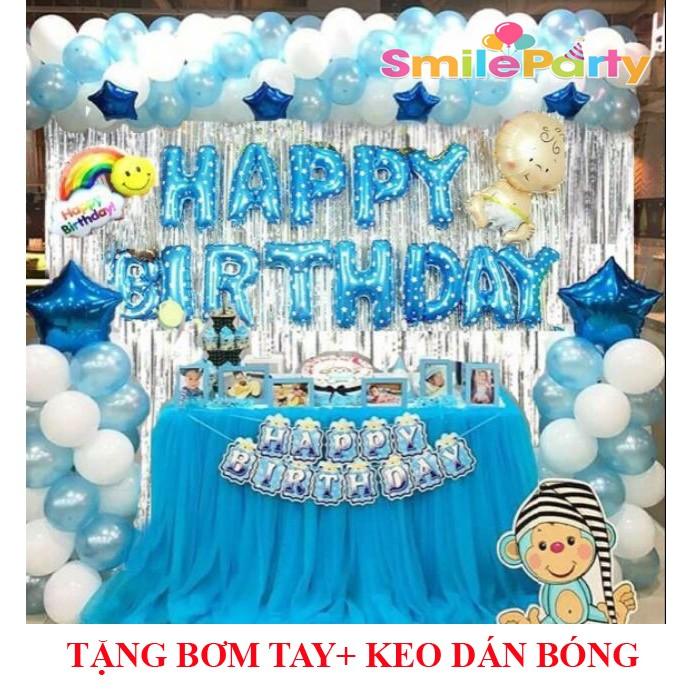 Combo Trang Trí Sinh Nhật 2 Rèm Kim Tuyến Tùy Chọn, Bóng Chữ Happy Birthday và 50 bóng tròn (Tặng bơm+Keo dán)