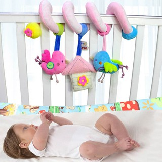 Baby Spiral Stroller Toy, Kids Animals Stuffed Toys Wraps Around Crib Prams Rail