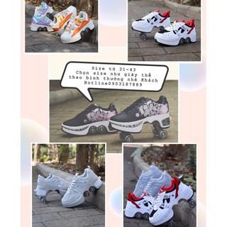 Giày thể thao kiêm giày trượt Patin bốn bánh gấp gọn