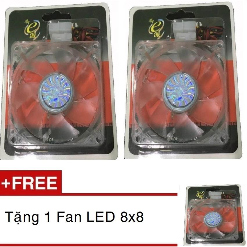Bộ 2 Quạt case LED 4 màu tản nhiệt Case 8Cm Tặng 1 quạt cùng loại