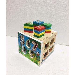 Đồ chơi gỗ.Hộp thả hình khối đa năng 1131.Hộp vuông gỗ thả hình. thumbnail