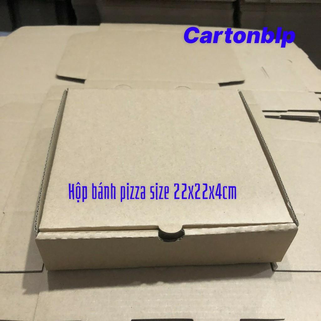 Hộp carton đựng bánh pizza size 22x22x4cm màu nâu