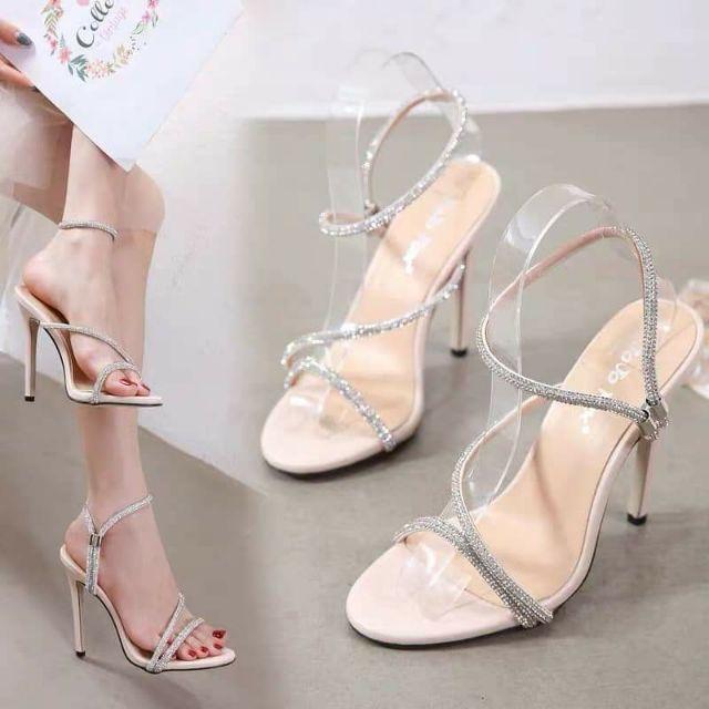 Giày sandal cao gót đính hạt 11P