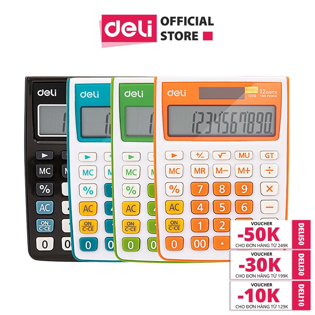 Máy tính kỹ thuật 12 số Deli, Đen, Cam, Xanh dương, Xanh lá E1238