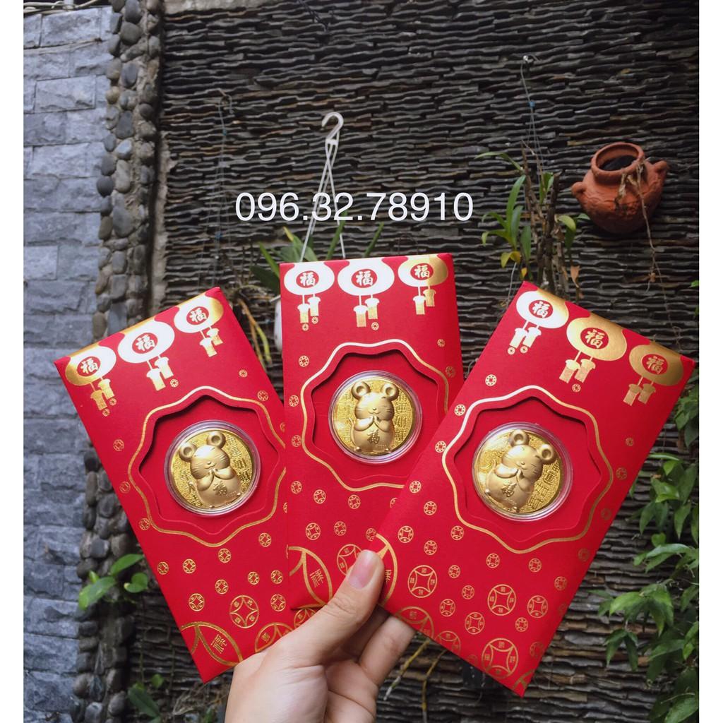Combo 5 Bao Lì Xì Hình Con Chuột Mạ Vàng 24k