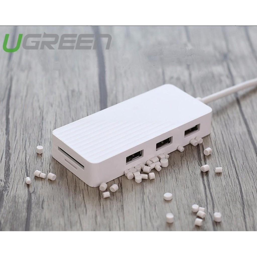 Hub USB 3.0 3 cổng + đầu đọc thẻ UGREEN CR132 - 30411