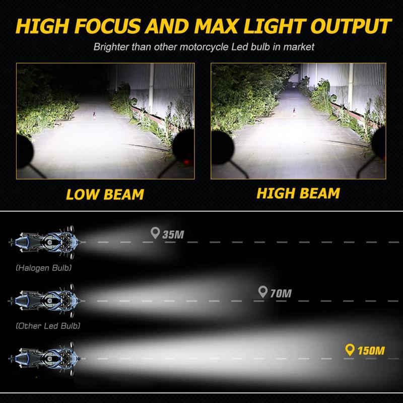 NOVSIGHT Đèn Pha Led H4 5000lm 6000k 25w Cao Cấp Cho Xe Mô Tô