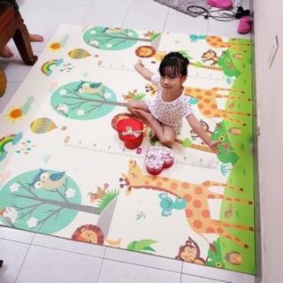 Thảm trải sàn xốp XPE 2 mặt phủ Silicone Hàn Quốc mẫu đẹp chống thấm tuyệt đối, chống ngã, cho bé tập bò kèm túi 1m8- 2m