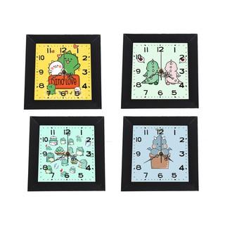 Đồng hồ treo tường khủng long dạng khung ảnh 13x13 cm DHTI9 đồng hồ cute dễ thương