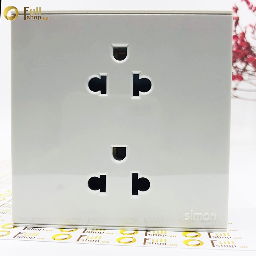 Ổ cắm đôi đa tiêu chuẩn kiểu Âu Mỹ 16A có tiếp địa lắp chuẩn đế vuông simon E6 721287