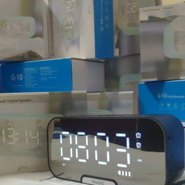 Loa Bluetooth Kiêm Đồng Hồ  G10 Mặt Gương Hiển Thị Đèn Led - Đài FM - Đồng Hồ Báo Thức