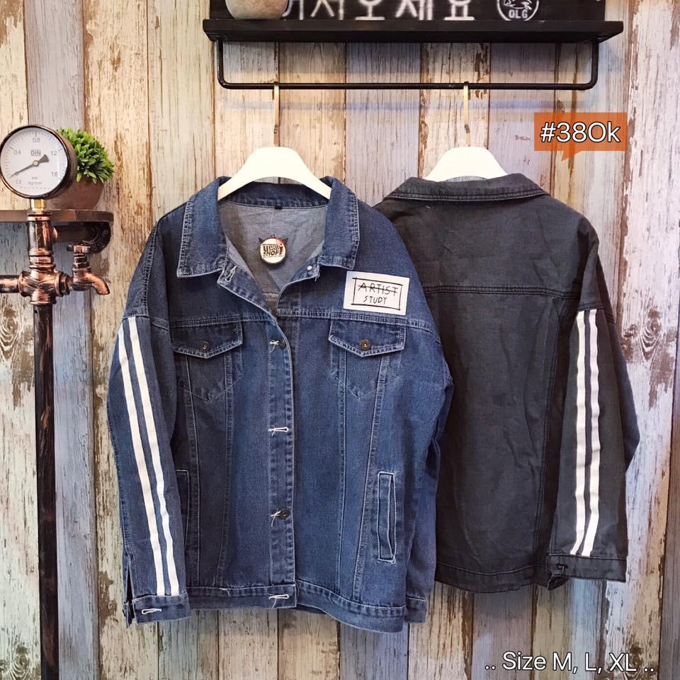 Áo khoác Jeans tay sọc trắng (M,L,XL)