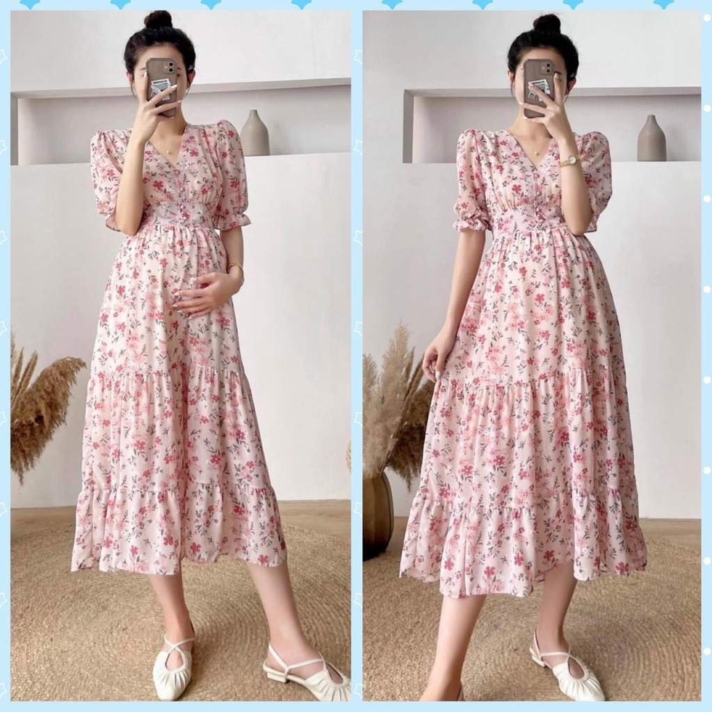 Mặc gì đẹp: Sang chảnh với Váy bầu thời trang giá rẻ - đầm bầu công sở dự tiệc BABYDOLL hoa nhí thiết kế đẹp FREESIZE V20