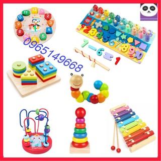Combo 7 bộ đồ chơi gỗ thông minh giáo dục sớm cho Bé