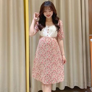 MEDYLA - Váy bầu mùa hè hoa nhí cổ vuông sang chảnh cho bầu đi chơi, du lịch - VS613 thumbnail