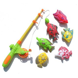 Magnetic Fishing Toy Set Game With 1 Fishing Rod and 6 Fishes Random Color