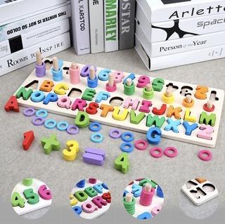 Đồ chơi bảng chữ số xếp hình gỗ trí tuệ dành cho bé học đếm loại to