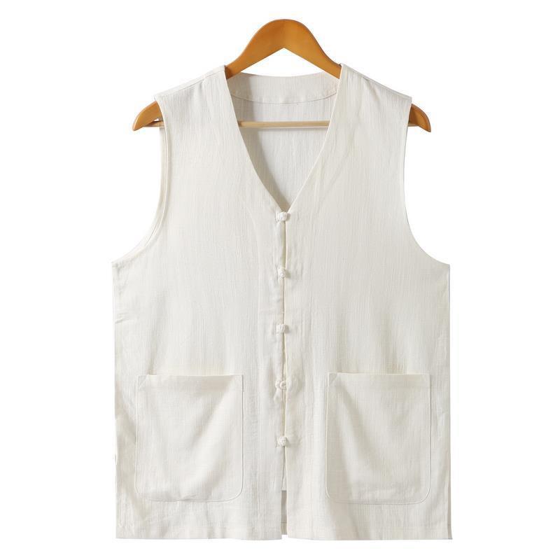 Áo Khoác Vest Vải Lanh Mỏng Dáng Rộng Cỡ Lớn 6.14 Phong Cách Trung Hoa Cho Nam Trung Niên