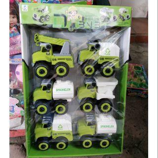 [DB6066-11] Bộ đồ chơi 6 xe công trình xanh lá ( nhựa )