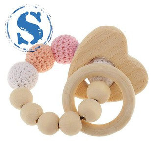 pearl teething rings wooden infant rattle toy baby teething accessories – heart
