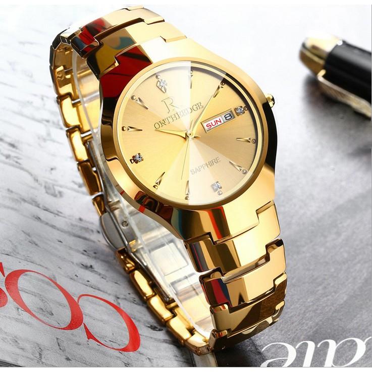 Đồng hồ nam Ontheedge dây đá siêu mỏng kính Sapphire (fullbox, vàng)